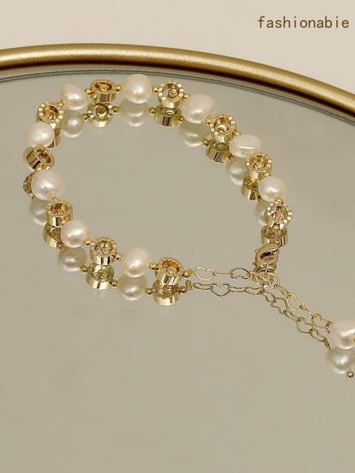 14k  gold Brass Imitation Pearl Geometric Minimalist Bracelet