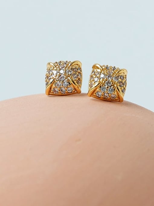 Five Color Brass Cubic Zirconia Geometric Minimalist Stud Earring 0