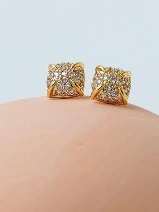Five Color Brass Cubic Zirconia Geometric Minimalist Stud Earring