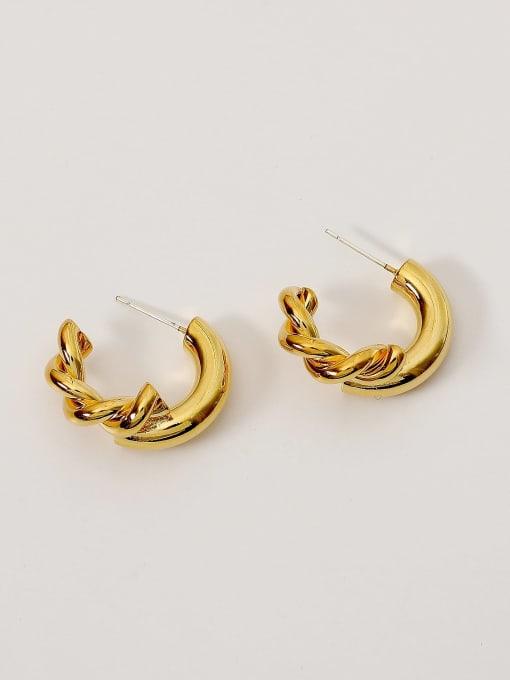 18K Gold Brass Geometric Vintage Hoop Earring