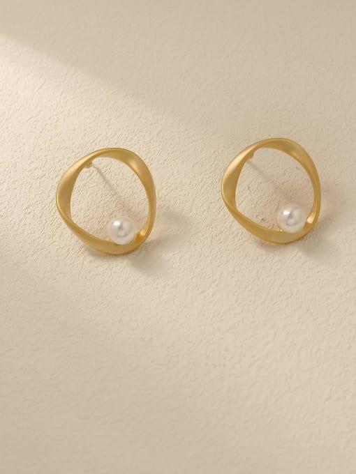 HYACINTH Brass Imitation Pearl Geometric Minimalist Stud Trend Korean Fashion Earring 0