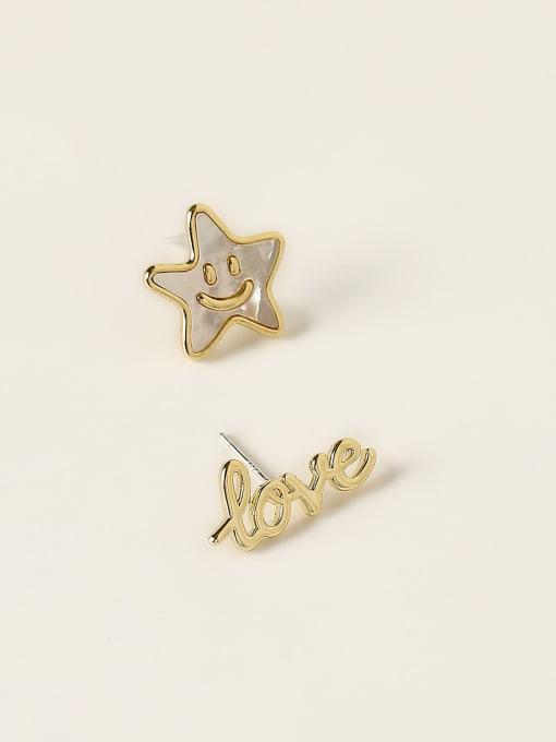HYACINTH Brass Enamel Asymmetry Letter Minimalist Stud Earring 3