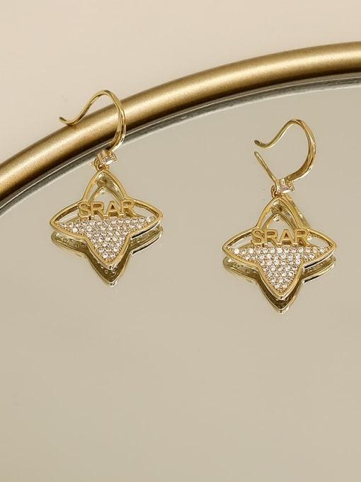 14K  gold Copper Cubic Zirconia Flower Minimalist Hook Earring