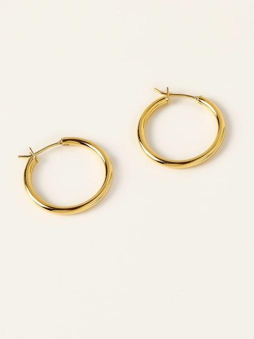 16K gold Brass Round Minimalist Hoop Earring