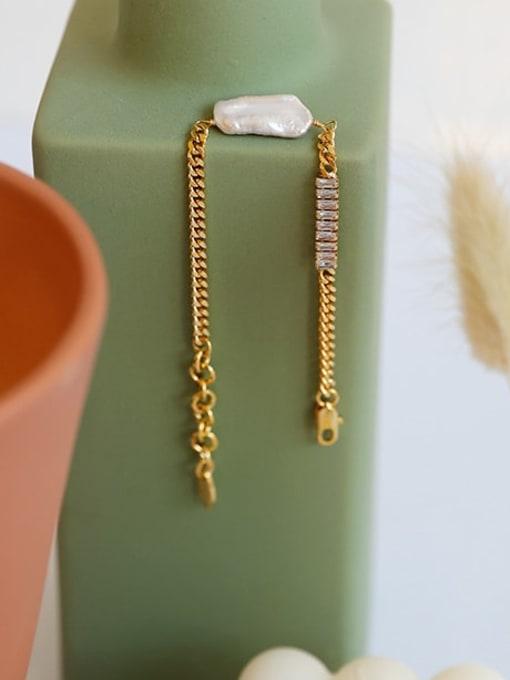 Five Color Brass Cubic Zirconia Geometric Minimalist Link Bracelet 1