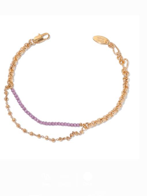 TINGS Brass Cubic Zirconia Geometric Minimalist Strand Bracelet