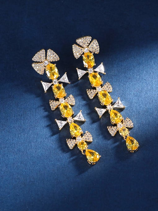 yellow Brass Cubic Zirconia Geometric Statement Drop Earring