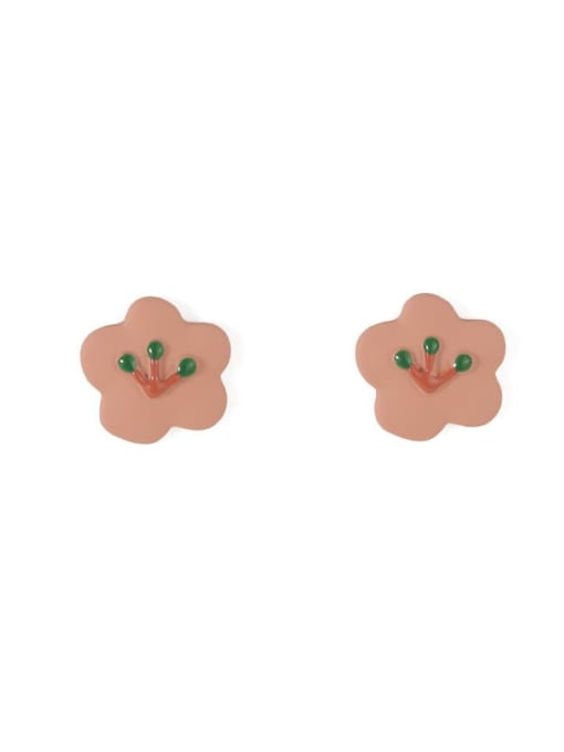 Five Color Alloy Enamel Flower Minimalist Stud Earring