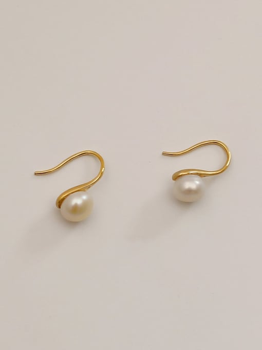 HYACINTH Brass Imitation Pearl Irregular Minimalist Hook Earring 0