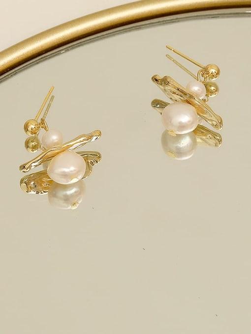 14 K gold Brass Imitation Pearl Geometric Minimalist Stud Earring
