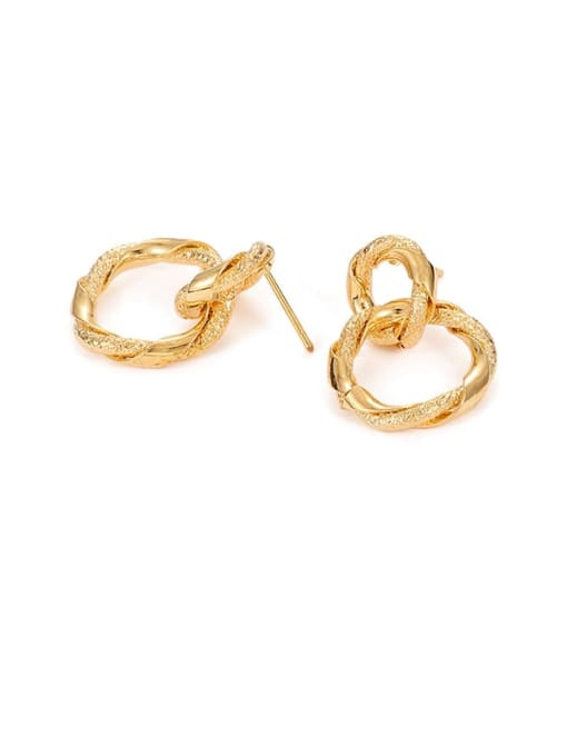Five Color Brass Geometric Hip Hop Drop Earring