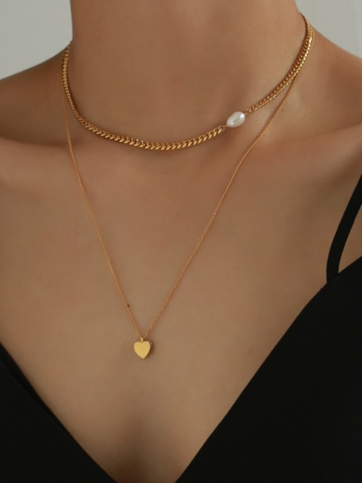 Five Color Brass Freshwater Pearl Heart Minimalist Necklace 1