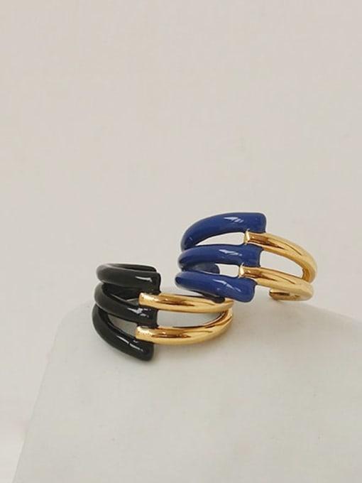 ACCA Brass Enamel Geometric Vintage Band Ring 2