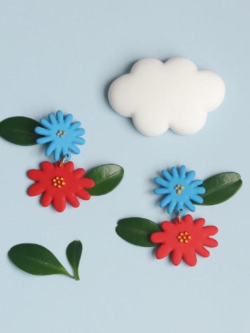 Five Color Alloy Enamel Flower Cute Drop Earring 1