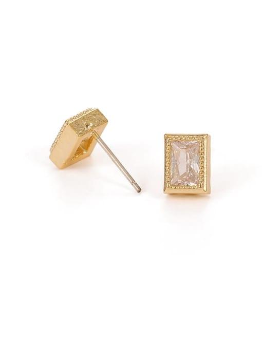 Rectangular Earrings Brass Cubic Zirconia Geometric Hip Hop Stud Earring