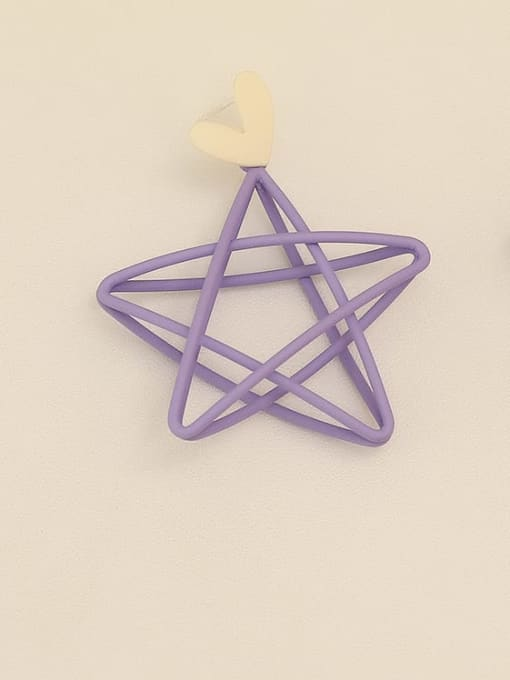 Purple ear needle Copper Enamel Star Minimalist Stud Earring