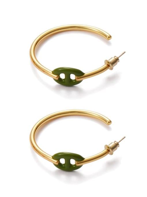 Dark green oil drop Brass Enamel Geometric Minimalist Hoop Earring