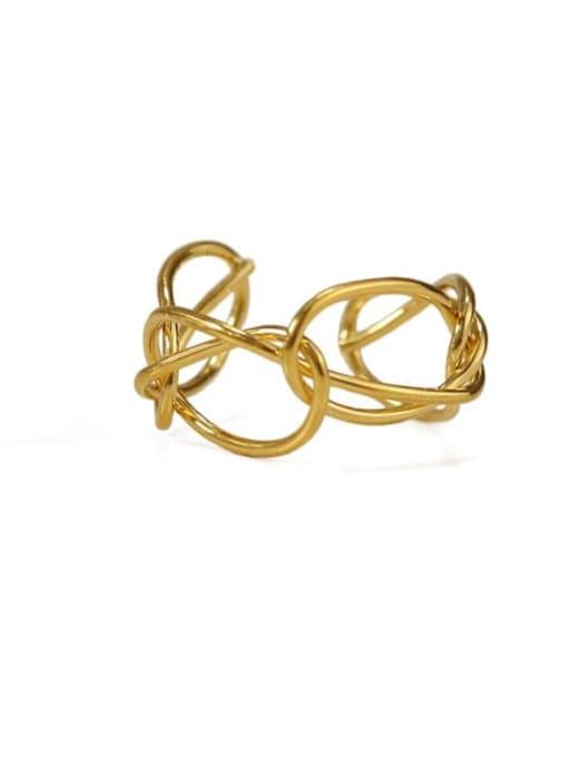 ACCA Brass Hollow Geometric Minimalist Band Ring 0