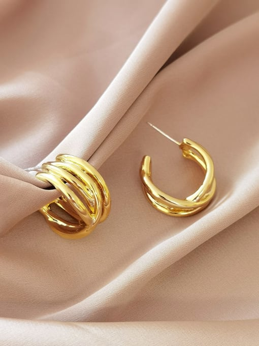 HYACINTH Brass Geometric Vintage Stud Earring 1