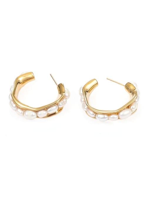 golden Brass Imitation Pearl Geometric Minimalist Stud Earring