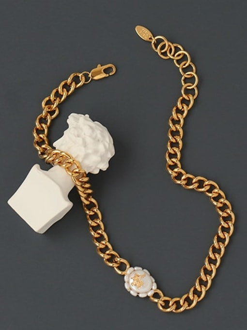 ACCA Brass Freshwater Pearl Geometric Vintage Necklace