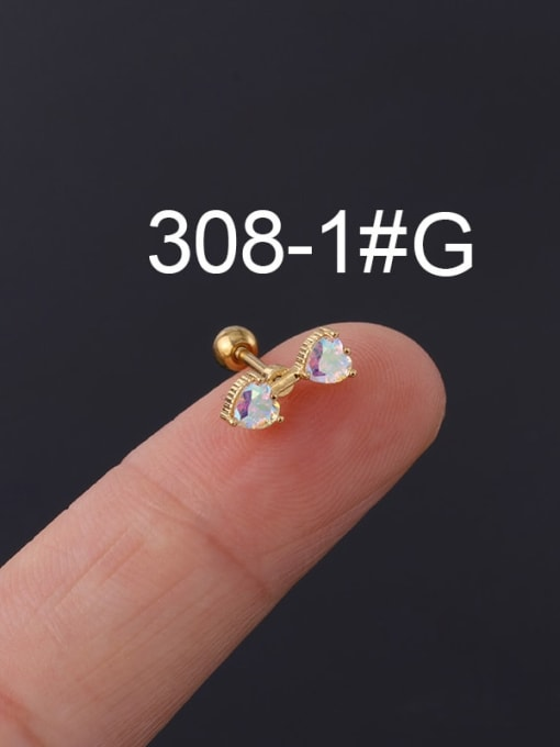 1# gold Brass Cubic Zirconia Multi Color Ball Stud Earring(Single)