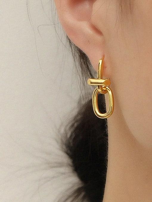 HYACINTH Brass Hollow Geometric Vintage Drop Trend Korean Fashion Earring 1