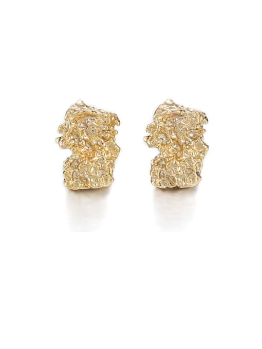 Geometric fold Earrings Brass Irregular Hip Hop Stud Earring