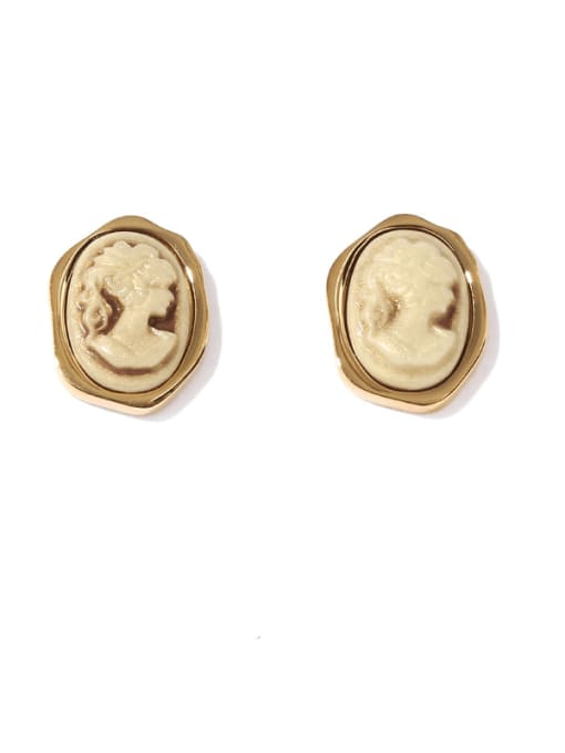 Yellow to make old Brass Acrylic Round Vintage Stud Earring