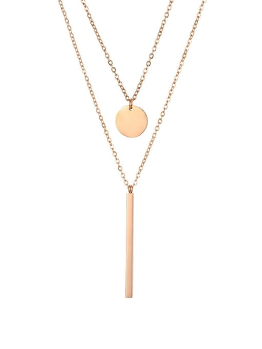 rose gold Titanium Steel  Minimalist Geometric Pendant Multi Strand Necklace