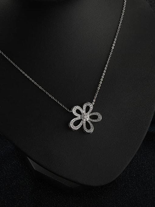 YILLIN Brass Cubic Zirconia Flower Minimalist Necklace 1