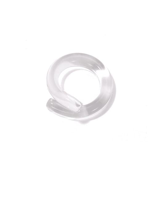 White transparent ring Coloured Glaze Geometric Minimalist Band Ring