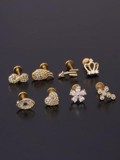 HISON Brass Cubic Zirconia Geometric Hip Hop Huggie Earring 2