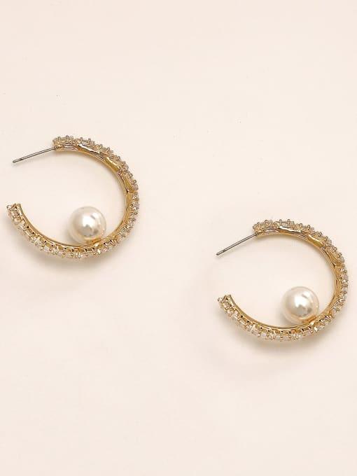 14k Gold Brass Cubic Zirconia Geometric Vintage Hoop Earring