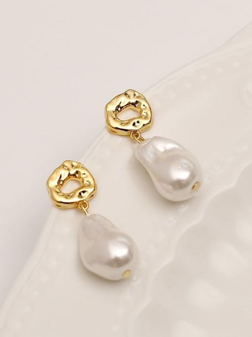 HYACINTH Brass Imitation Pearl Water Drop Minimalist Drop Earring 0