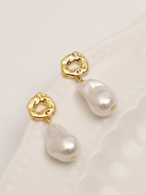 HYACINTH Brass Imitation Pearl Water Drop Minimalist Drop Earring