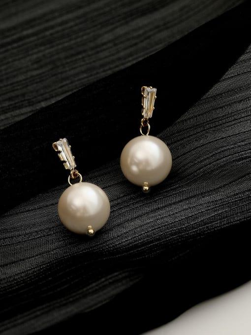 HYACINTH Brass Cubic Zirconia Geometric Minimalist Drop Trend Korean Fashion Earring 0