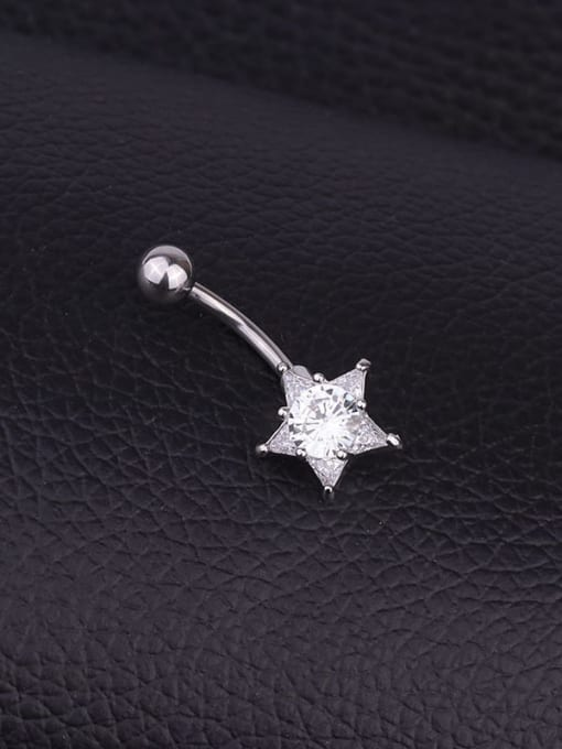 HISON Stainless steel Cubic Zirconia Star Hip Hop Belly Rings & Belly Bars 1