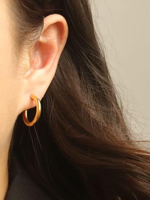 ACCA Brass Smooth Geometric Minimalist Hoop Earring 2
