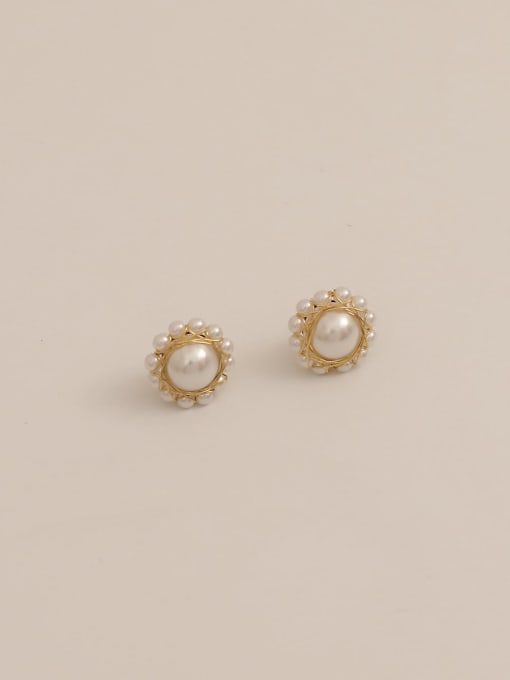 14K real gold Brass Imitation Pearl Geometric Vintage Stud Earring