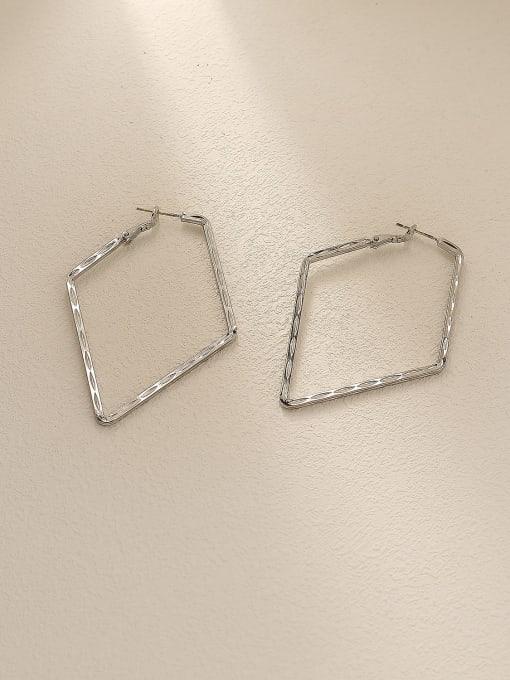 White K Brass Hollow Geometric Minimalist Huggie Earring