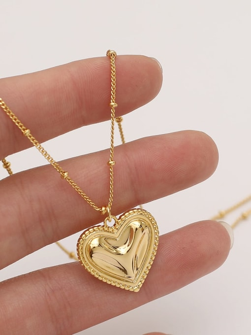 HYACINTH Brass Smooth Heart Vintage  Pendant Necklace 1
