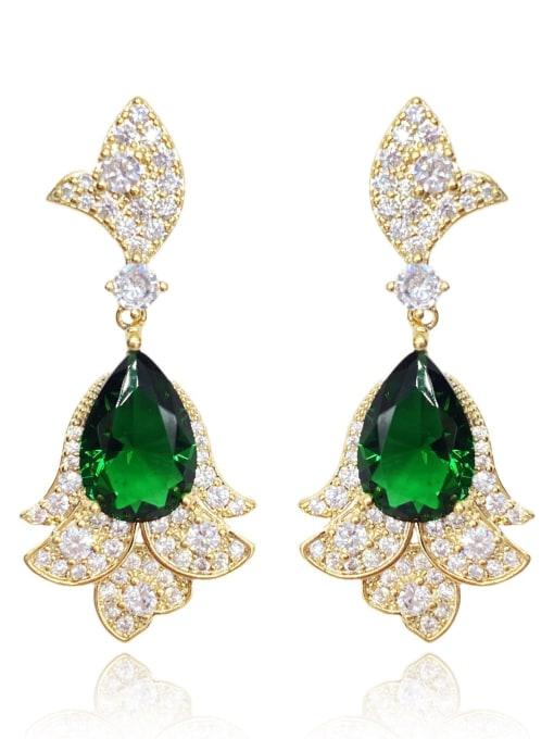 Butterfly Emerald Brass Cubic Zirconia Irregular Luxury Drop Earring