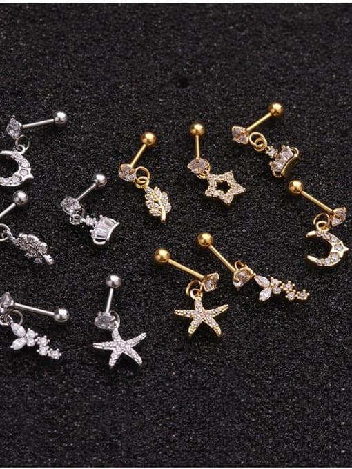 HISON Brass Cubic Zirconia Geometric Cute Stud Earring 3