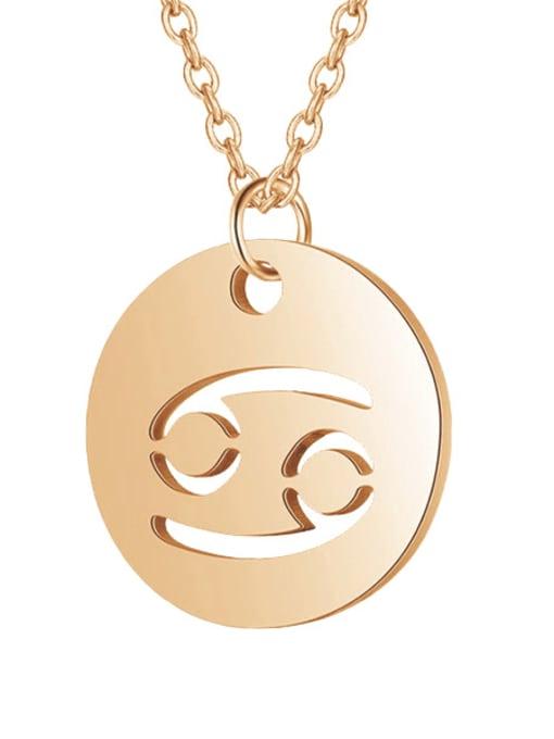 Cancer rose gold Titanium Steel Constellation Minimalist  Round Pendant Necklace