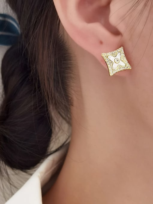 HYACINTH Brass Cubic Zirconia Geometric Minimalist Stud Earring 1