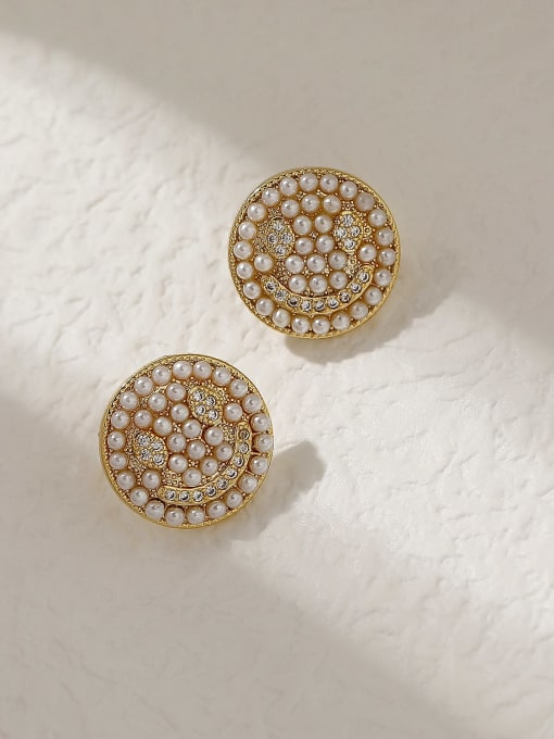 HYACINTH Brass Imitation Pearl Smiley Vintage Stud Trend Korean Fashion Earring 2