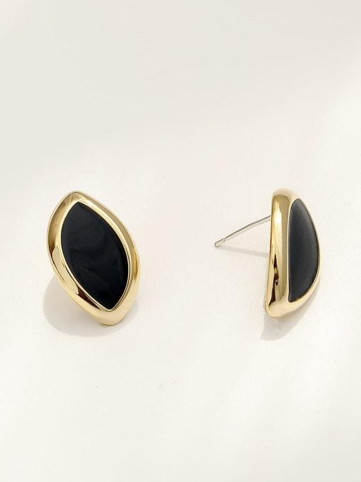 HYACINTH Brass Acrylic Geometric Vintage Stud Earring 3