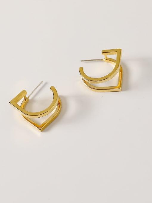 18K Gold Brass Geometric Minimalist Stud Earring