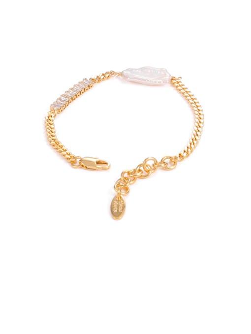 gold Brass Cubic Zirconia Geometric Minimalist Link Bracelet